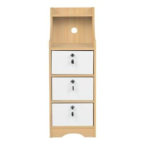 Bedroom Nightstand Bedside Cabinet Wood End Table Locker With 3 Lockable Drawers