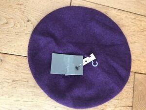 helen moore purple 100% scottish cashmere beret hat one size bnwt