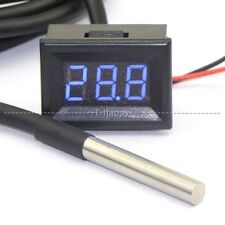 -67~+257℉ Digital Water Thermometer LED Temperature Meter Sensor 12V 24V CAR BLU