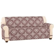 Reversible Diamond Pattern Ultra Quilted Furniture Cover Taupe Sofa