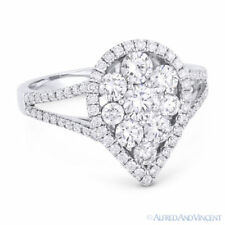 18k White Gold Right-Hand Fashion Ring 1.33 ct Round Brilliant Cut Diamond Pave