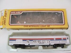 Vintage HO Life-Like Amtrak #9301 Silver Vista Dome Passenger Car W/ BOX
