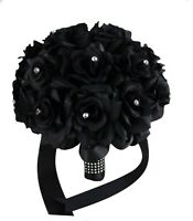 Elegant Black rose bouquet wedding artificial flower