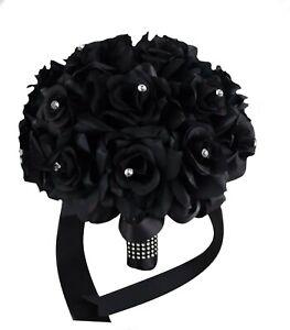 Elegant 9inch Black rose bouquet wedding artificial flower