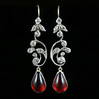 ANTIQUE GEORGIAN RED PASTE EARRINGS RESEMBLE RUBY CIRCA 1830