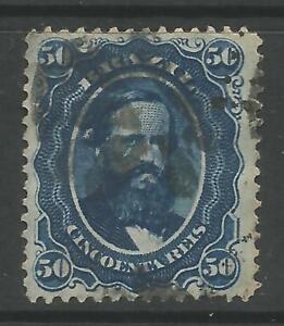 STAMPS-BRAZIL. 1866. 50r Blue on Blued Paper. SG: 45a. Fine Used