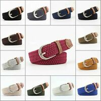 Men's Leather Covered Buckle Woven Canvas Elastic Stretch Belt