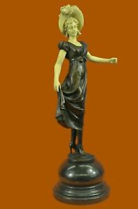 Signed Preiss Faux Bone Pure Handcrafted Bronze Sophisticated Lady Sculpture ART