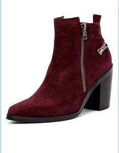 MOLLINI Rogie Burgundy Suede Ankle Boots Size 40 (Aus 9)