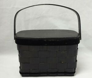 Wicker Sewing Basket w Wood Lid & Bottom Storage Basket Box w Handle Container