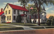 VTG POSTCARD SAINT ST FRANCIS XAVIER CHURCH COMMUNITY CENTER WINTHROP MAINE A27