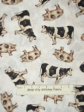 Cow Pig Animal Fabric ~ 100% Cotton By Yard ~ Windham Farm Chick #36390 Toss