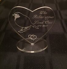 Engraved Memorial Heart With Robin And Verse Ornament/Keepsake/gift