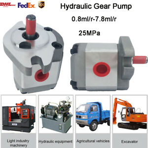 Single Hydraulic Gear Pump SAE Flange Mounting Flat Key 0.8-8ml/r for Excavator
