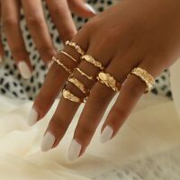 9 Pcs Silver/Gold Boho Stack Plain Above Knuckle Ring Midi Finger Rings Set Gift