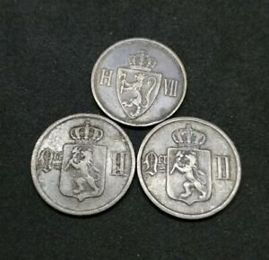 Norway Lot Of 3 Bronze 2 Øre Ore Coins 1889 1897 1907 Good Coins (16)