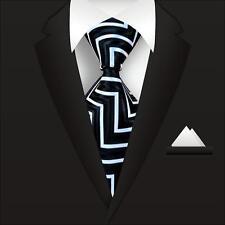 New Classic Striped WOVEN JACQUARD Silk Men's Suits Tie Necktie Black White N05