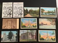 Lot of 10 Original Vintage Postcards - Illinois - Springfield, Lincoln Tower, +