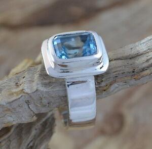 925 Sterling Silber Ring mit blauem Topas, blauer Stein, eckig