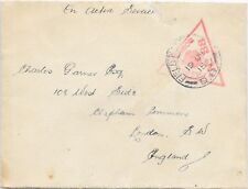Cubierta de servicio activo GB 19/12/1915 triangular censor 88; demora D.8. leve desgarro.