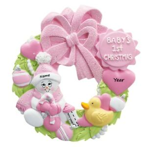 PERSONALIZED Baby's First Christmas Ornament, Newborn Baby Girl On Pink Wreath
