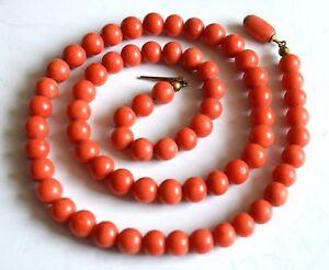 51,7g antique Lachs Korallen big Perlenkette Kette Perlen Collier natural coral