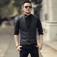 Mens dress formal slim fit suit vest plaid business casual waistcoat formal vest