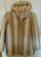 Vintage - Cheyenne by Hillmoor Faux Fur Floral Lined Hooded Coat Jacket L large