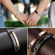 2x Her King & His Queen Couple Bracelets Stainless Steel Wristband Bracelet AU