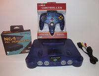Nintendo 64 Grape Purple N64 Console System Bundle w/ New Controller & Hookups!