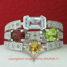 Real Genuine Natural Diamond Gemstone Solid White Gold Engagement Wedding Ring