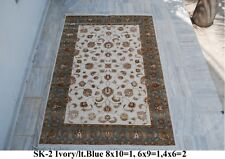 India 240x300 8x10 Hand Knotted Soft Wool Viscose Art Silk Carpet Area Rug