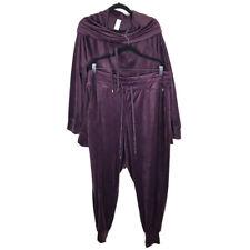 LIVI Active Purple Track Suit Velvet 2 Piece Jacket Pants Womens 18/20 Comfy