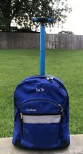 LL Bean Deluxe Rolling Wheels Backpack Book Bag Blue Personalized Kate