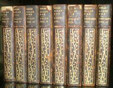 1908, THE WORKS OF EDGAR ALLAN POE, 8 LEATHER BOUND VOLUME SET, ILLUSTRATED
