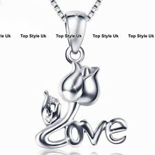 Silver Rose Love Crystal Diamond Pendant Necklace Chain Gifts for girlfriend C3