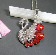 Betsey Johnson, Red, Faux Crystal, Swan Necklace/Pendant - New with Tags
