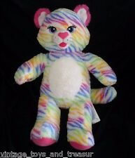 BUILD A BEAR ZEBRA COLOR RAINBOW KITTY CAT PINK STUFFED ANIMAL PLUSH TOY BABW