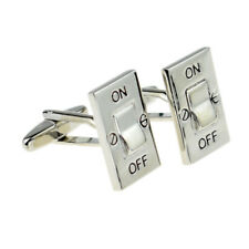 Rhodium Plated On Off Switch Electricians Cufflinks Electrical X2PSN133