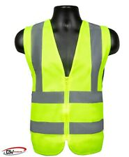 Dsv Standard High Visibility Reflective Safety Vest with Zipper & Neon Yellow