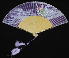 Vintage Japanese Sheer Purple Fan With Hand Painted Flowers in Original Box