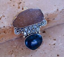 Fancy Drusy and Blue Aventurine & 925 Sterling Silver Pendant