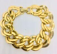 Wide Signed MONET Bracelet Double Interlocking Links GP Vintage Jewelry