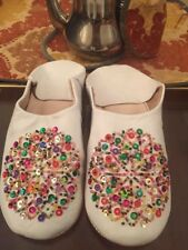 Authentic Handmade Moroccan Leather Slippers Shoes Babouches Size 8 Sequin NEW