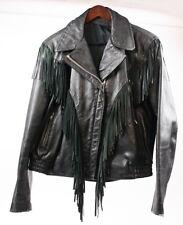 Vintage 80s Black Leather Western Fringe Motorcycle Biker Jacket Coat Women 16