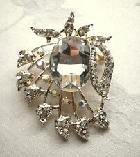 VINTAGE INSPIRED GOLD PLATED LARGE STATEMENT CLEAR RHINESTONE  BROOCH