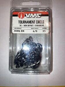 BNIP 6/0  VMC 8386-BN 3X TOURNAMENT CIRCLE HOOK--BLACK NICKEL--25 PACK