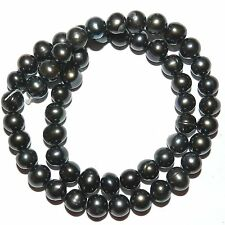 NP248L2 Black 7-8mm Cultured Freshwater Semi-Round Potato Pearl Beads 14.5""