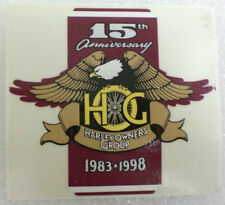 "Harley Owners Group HOG 15th Anniversay Sticker 1983-1998  3¼"" X 3""  NEW"
