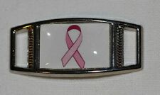 Pink Ribbon Rectangle Breast cancer awareness shoelace charm (1) shoes/paracord